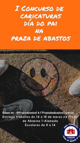 Cartel concurso de caricaturas do día do pai na praza de abastos de Ourense